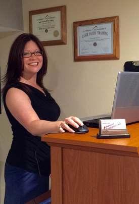 Danielle at her desk